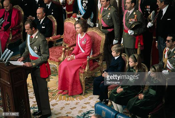 King Juan Carlos addressed Parliament as Queen Sofia and children Princesses Helena Cristina and Crown Prince Felipe look on