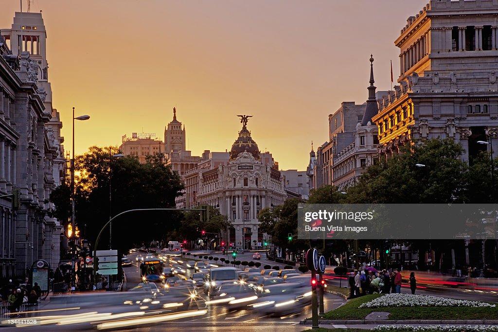 Madrid, Spain.  La Gran Via (The great street) : Stock Photo