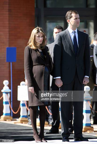 Princess Letizia and her husband Prince Felipe stand for a 3 minute silence during the inauguration of a memorial to the victims of the 2004 Madrid...