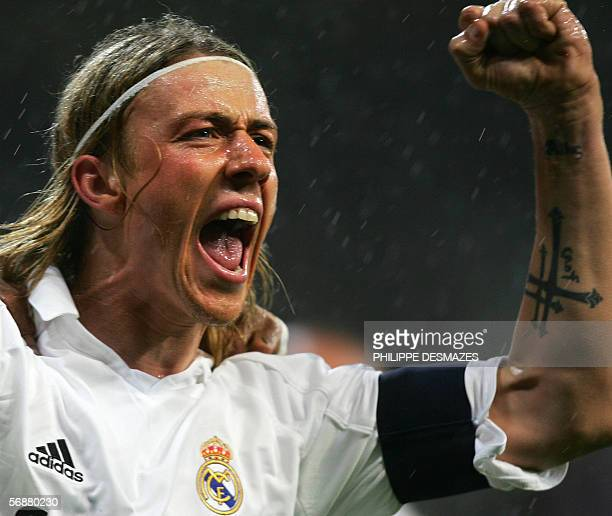 Real Madrid captain Guti jubilates after his goal during their Spanish league football match against Alaves at the Santiago Bernabeu stadium in...