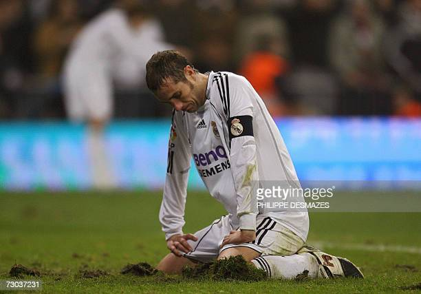 Real Madrid's captain Ivan Helguera reacts after loosing against Betis Seville during their Spanish Cup last 16 return leg match at the Santiago...