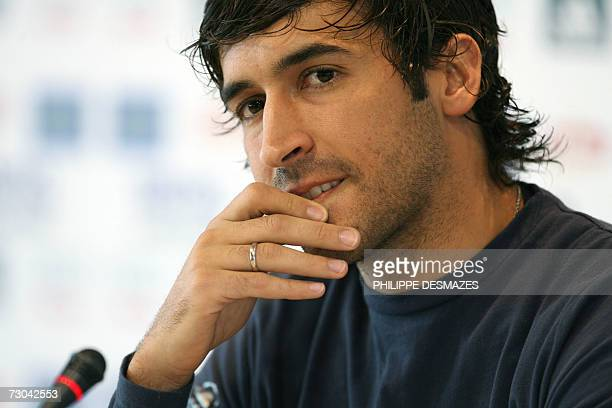 Real Madrid's captain Raul Gonzalez gives a press conference after a training session in Madrid 19 January 2007 Real Madrid's miserable week got even...
