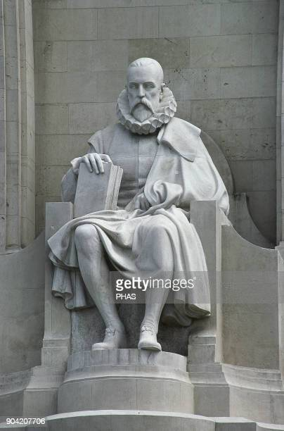 Madrid Spain Sculpture of Miguel de Cervantes Saavedra Spanish novelist and poet the creator of Don Quixote fully titled The Ingenious Nobleman...