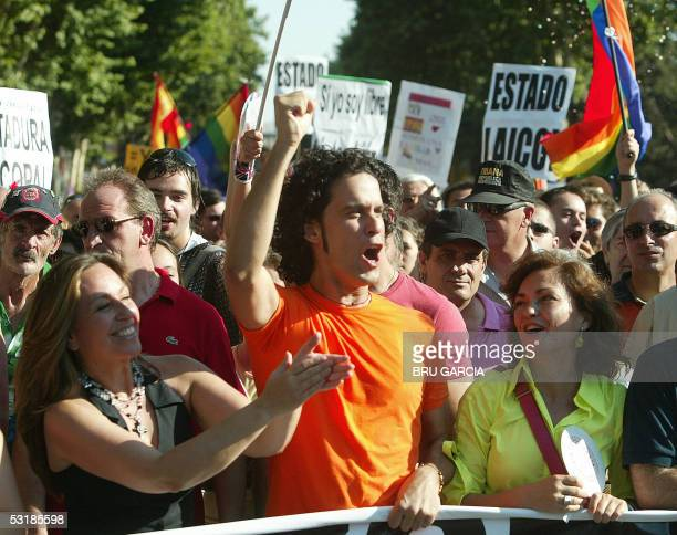Socialist town councillors Trinidad Jimenez Pedro Zerolo and Culture Minister Carmen Calvo take part in the Gay Pride parade in Madrid 02 July 2005...