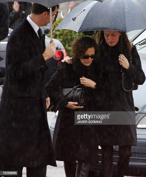 Spain's Prince Felipe and Princess Letizia comfort Letizia's mother Paloma Rocasolano on arrival at the crematorium of Tres Cantos for the funeral of...