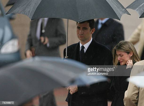 Spain's Princess Letizia and Prince Felipe depart from the crematorium of Tres Cantos after the funeral of her younger sister Erika Ortiz near Madrid...
