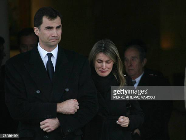 Spain's Princess Letizia departs with husband Prince Felipe from the crematorium of Tres Cantos after the funeral of her younger sister Erika Ortiz...