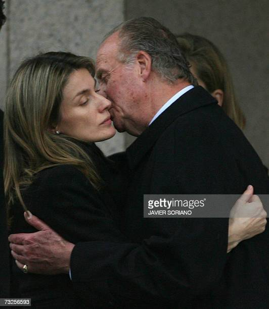 Spain's Princess Letizia is comforted by King Juan Carlos as they depart from the crematorium of Tres Cantos after the funeral of her younger sister...