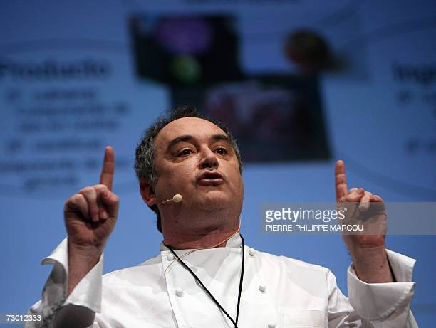 Spanish chef Ferran Adria gives a lecture during the fourday international gastronomic meeting 'Madrid Fusion' in Madrid 16 January 2007 After...