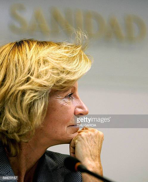 Spanish Health Minister Elena Salgado speaks at a press conference in Madrid regarding the spread of a deadly strain of bird flu into Europe 14...