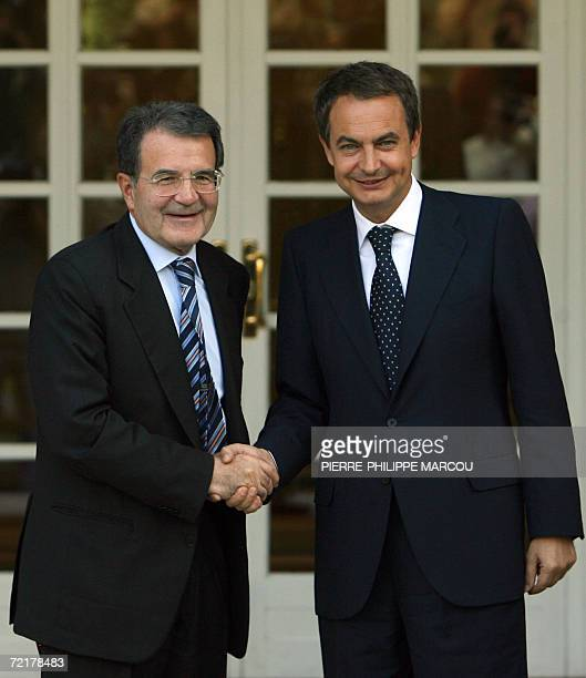 Spanish Prime Minister Jose luis Rodriguez Zapatero gestures as he speaks with his Italian counterpart Romano Prodi at the Moncloa Palace in Madrid...
