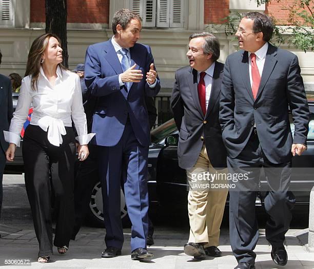 Spanish Prime Minister Jose Luis Rodriguez Zapatero Portuguese former President and Socialist International President Antonio Guterres Chilean...