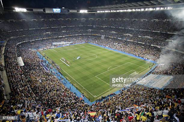 Supporters are seen prior to the start of the King's Cup final football match between Espanyol and Zaragoza at the Santiago Bernabeu stadium in...