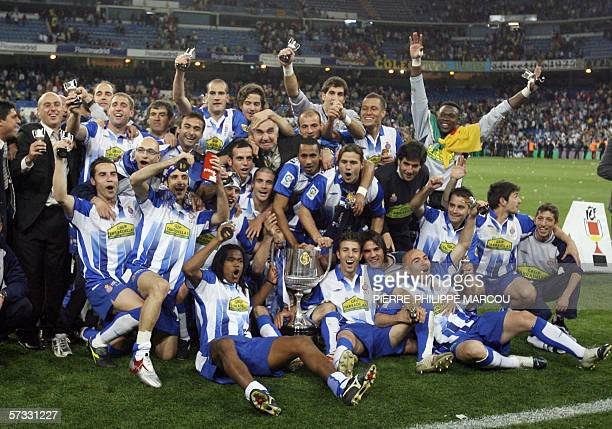 The Espanyol squad celebrating after winning the King's Cup final football match against Zaragoza at the Santiago Bernabeu stadium in Madrid 12 April...