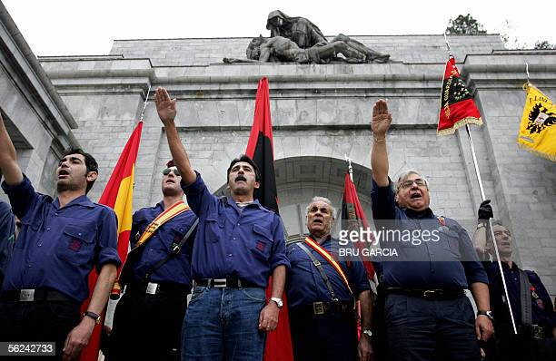 The fascist salute is given outside the tomb of Jose Antonio Primo de Rivera founder of the falange party in the basilica of Santa Cruz of the Valley...