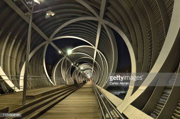 madrid, spain - view inside the arganzuela footbridge at night - 2000s style stock pictures, royalty-free photos & images