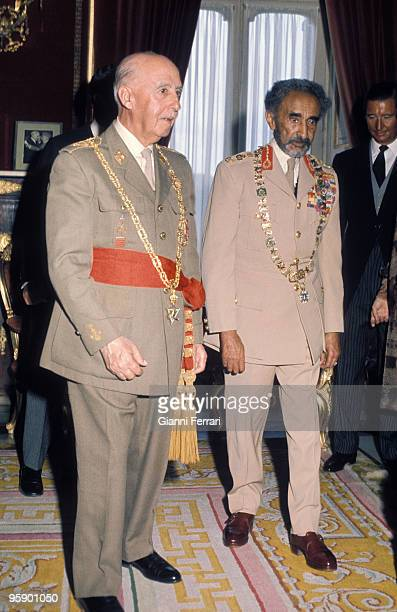 Madrid Spain Visit of Haile Selassie to Spain received by Francisco Franco