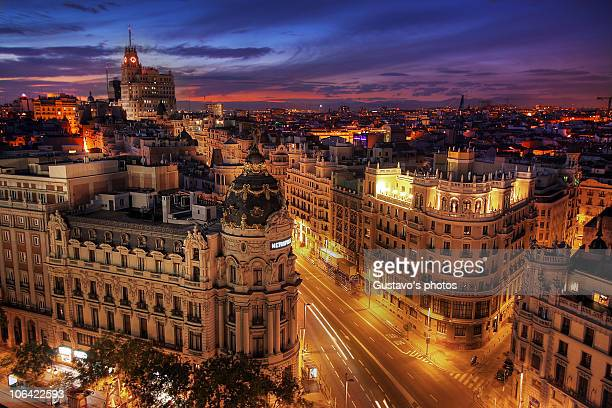 madrid street in the evening - madrid stock pictures, royalty-free photos & images