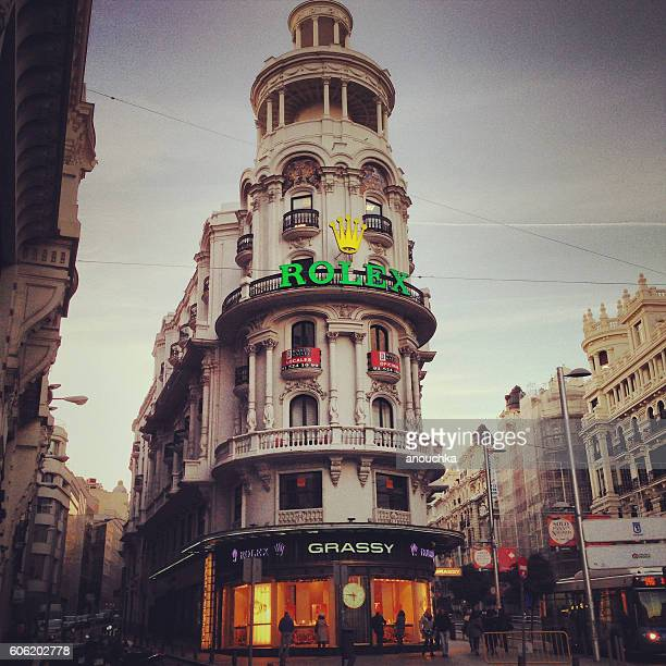 Madrid streets with people and shops, Spain