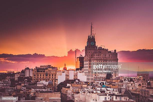 madrid sunset - madrid stock-fotos und bilder