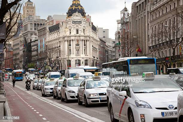 Madrid: Taxis and traffic on Alcala Street