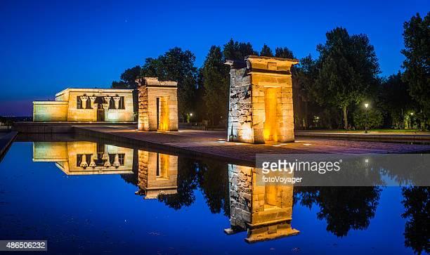 Madrid Templo de Debod ancient Egyptian temple spotlit panorama Spain