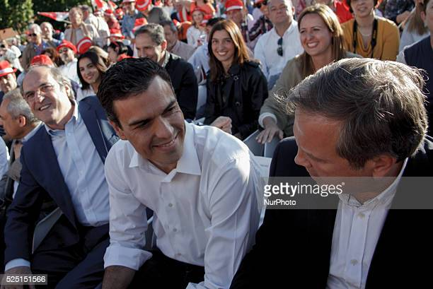 The leader of the Spanish Socialist Pedro SanchezThe socialist candidate for mayor of Madrid Antonio Miguel Carmona and The socialist candidate for...