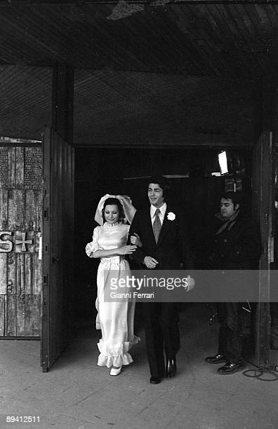 1970 Madrid The spanish singer Rocio Jurado with the actor Maximo Valverde during the filming of the movie 'Una chica casi decente'