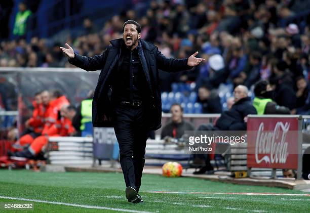 Atletico de Madrid's Argentine coach Diego Pablo Simeone during the Spanish League 2015/16 match between Atletico de Madrid and Espanyol, at Vicente...