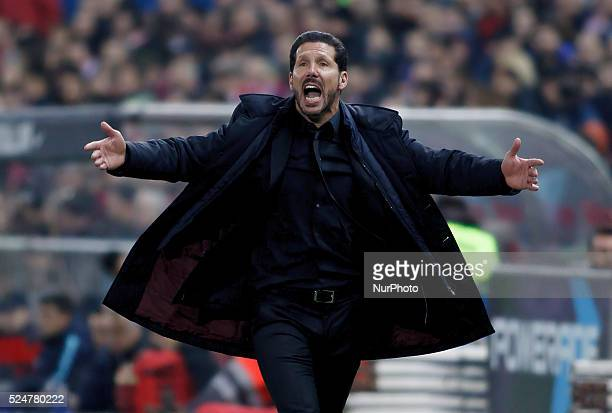 Atletico de Madrid's Argentine coach Diego Pablo Simeone during the Spanish League 2015/16 match between Atletico de Madrid and Athletic de Bilbao,...