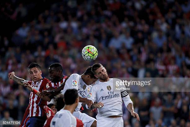 Atletico de Madrid's Colombian forward Jackson Martinez and Real Madrid's Spanish Defender Sergio Ramos during the Spanish League 2015/16 match...
