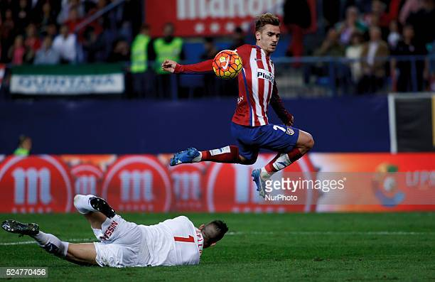 Atletico de Madrid's French forward Antoine Griezmann and Sporting Gijons Spanish goalkeeper Ivan Cu��llar during the Spanish League 2015/16 match...