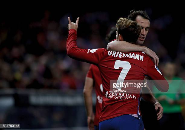 Atletico de Madrid's French forward Antoine Griezmann Celebrates a goal during the Spanish League 2015/16 match between Atletico de Madrid and...