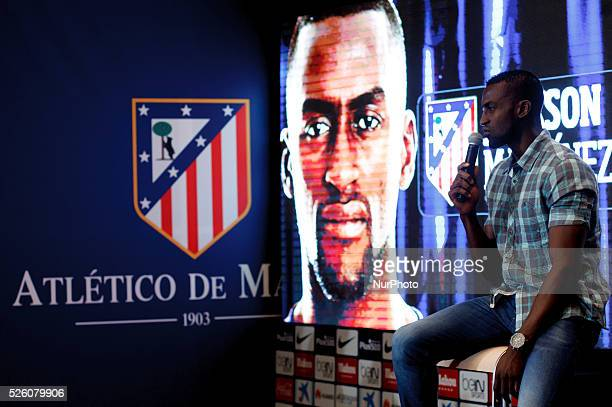 Colombian forward Jackson Mart��nez during his presentation as new player of Atletico de Madrid at Vicente Calderon Stadium in Madrid on July 26 2015