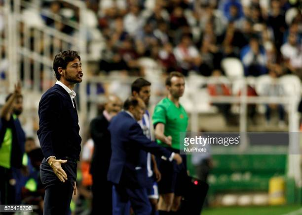 Deportivo's Spanish coach Victor Sanchez del Amo during the Spanish League 2015/16 match between Rayo Vallecano and Deportivo de la Coru��a, at...