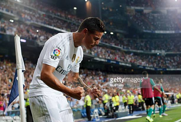 Real Madrid's Colombian midfielder Celebrates a goal James Rodriguez during the Spanish League 2015/16 match between Real Madrid and Real Betis at...