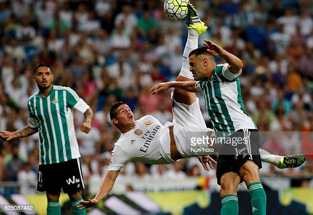 Real Madrid's Colombian midfielder scores a goal James Rodriguez during the Spanish League 2015/16 match between Real Madrid and Real Betis at...