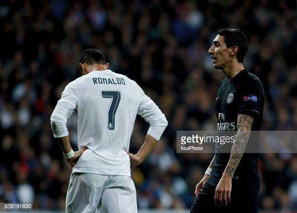 Real Madrid's Portuguese forward Cristiano Ronaldo and Par��s SaintGermain's Argentinean midfielder ��ngel Di Mar��a during the Champions League...
