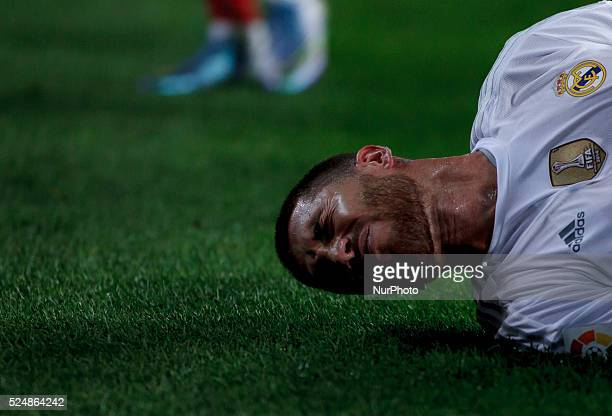 Real Madrid's Spanish Defender Sergio Ramos during the Spanish League 2015/16 match between Atletico de Madrid and Real Madrid at Vicente Calderon...