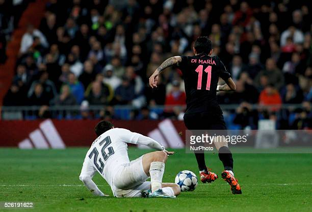 Real Madrid's Spanish midfielder Isco Alarcon and Par��s SaintGermain's Argentinean midfielder ��ngel Di Mar��a during the Champions League 2015/16...