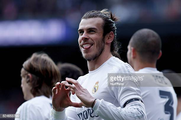 Real Madrid's Welsh forward Gareth Bale Celebrates a goal during the Spanish League 2015/16 match between Real Madrid and Sporting Gijon at Santiago...