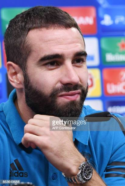 Madrid´s defender Daniel Carvajal Ramos attends a press conference on the eve of the Champions League Group H football match Borussia Dortmund vs...