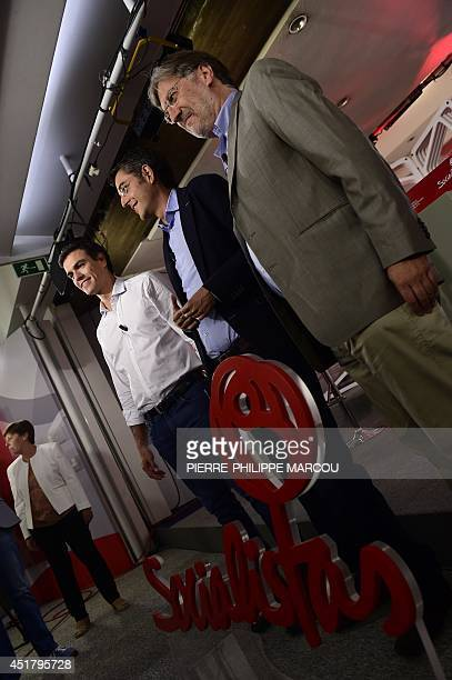 Madrid's Deputy Pedro Sanchez Secretary General of the Socialist Parliamentary Group Eduardo Madina and Jose Antonio Perez Tapias candidates to...