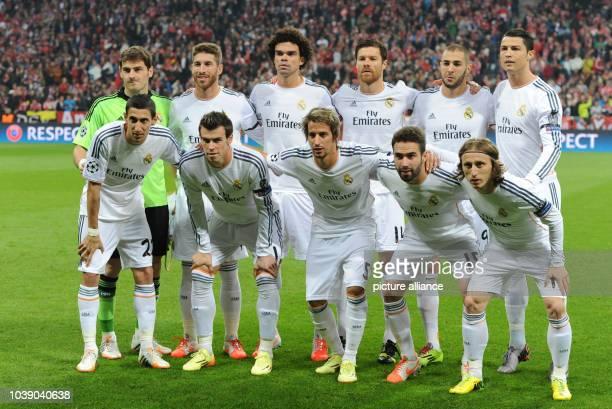 Madrid's first eleven goalkeeper Iker Casillas Sergio Ramos Pepe Xabi Alonso Karim Benzema Cristiano Ronaldo and Angel di Maria Gareth Bale Fabio...