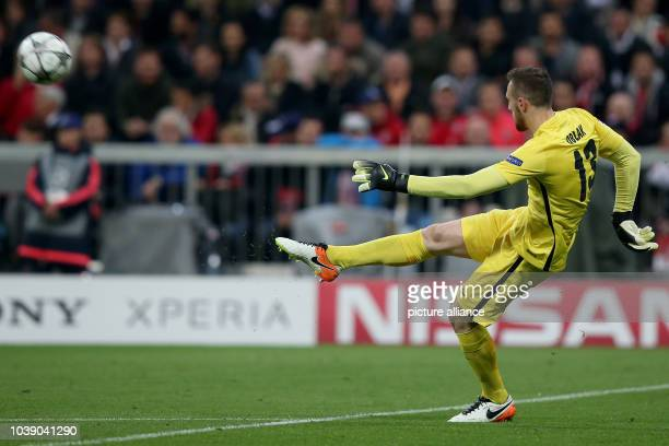 Madrid's Jan Oblak in action during the Champions League semifinal second leg soccer match between Bayern Munich and Atletico Madrid at the Allianz...