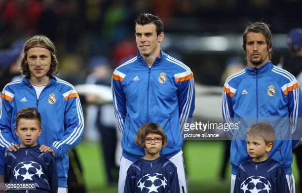 Madrid's Luka Modric , Gareth Bale and Fabio Coentrao before the UEFA Champions League quarter-final second leg soccer match between Borussia...