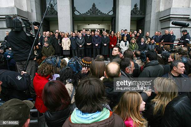 Madrid's mayor Alberto Ruiz Gallardon politicians and other representatives observe five minutes of silence in front of the Madrid town hall in...