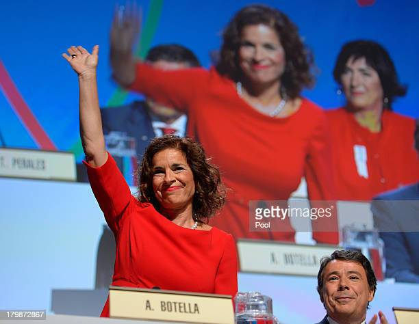 Madrid's Mayor Ana Botella waves during Madrid's bid presentation before the International Olympic Committee members during a IOC session on...