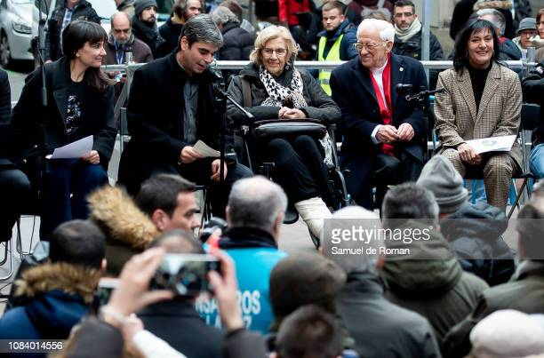 Madrid's mayor Manuela Carmena Eva Amaral Juan Aguirre and Padre Ángel during San Anton Festivity Opening Speech on January 17 2019 in Madrid Spain