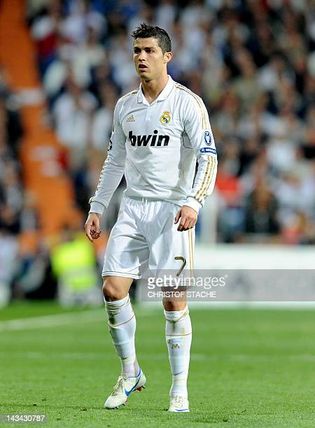 Madrid's Portuguese striker Cristiano Ronaldo reacts during the UEFA Champions League semi final second leg match between Real Madrid and Bayern...